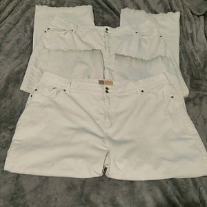 2 Pairs Faded Glory Woman Stretch 26W Jeans White